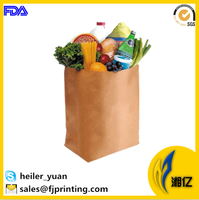 Grocery take away brown kraft paper bag for fruit vegetable packaging
