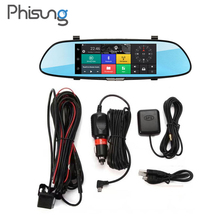 "7"" 3G Car Camera DVR GPS Bluetooth Dual Lens Rearview Mirror Video Recorder Full HD 1080P Automobile DVR Mirror Dash cam"