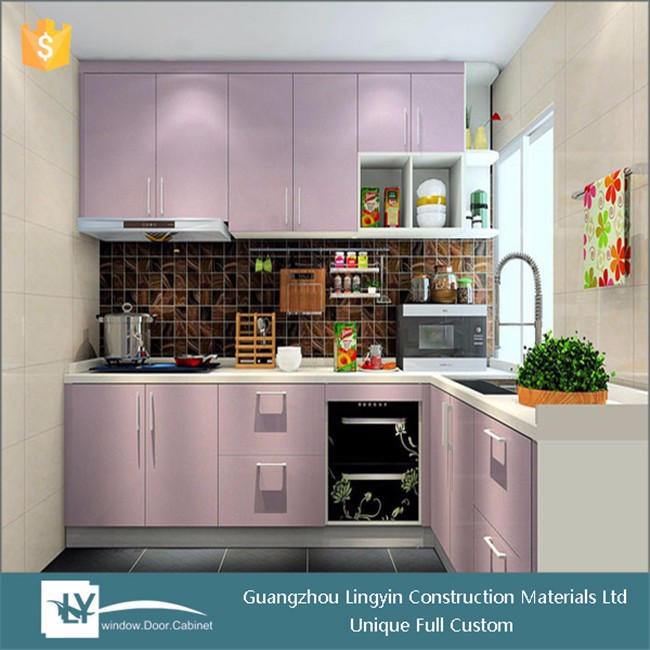 2015 hot sale high glossy pink lacquer kitchen cabinet with kitchen range hood