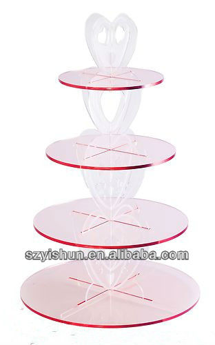 4 Tier Cupcake Party Stand Cake Holder Cup Cake Display Wedding Heart Love Pink