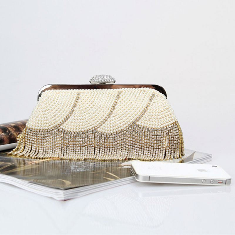 OEM professional personalize clutch bag with beaded mirror work tassel