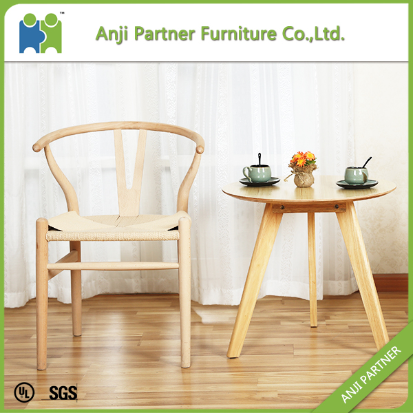 Light Yellow Convenitent Wax Wood Dining Chair With Paper Rattan Seat(Andrea)