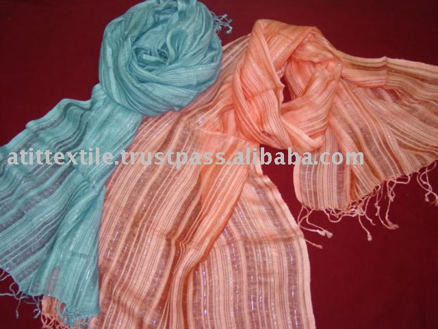 Viscose Linen Scarf With The Silver Lurex
