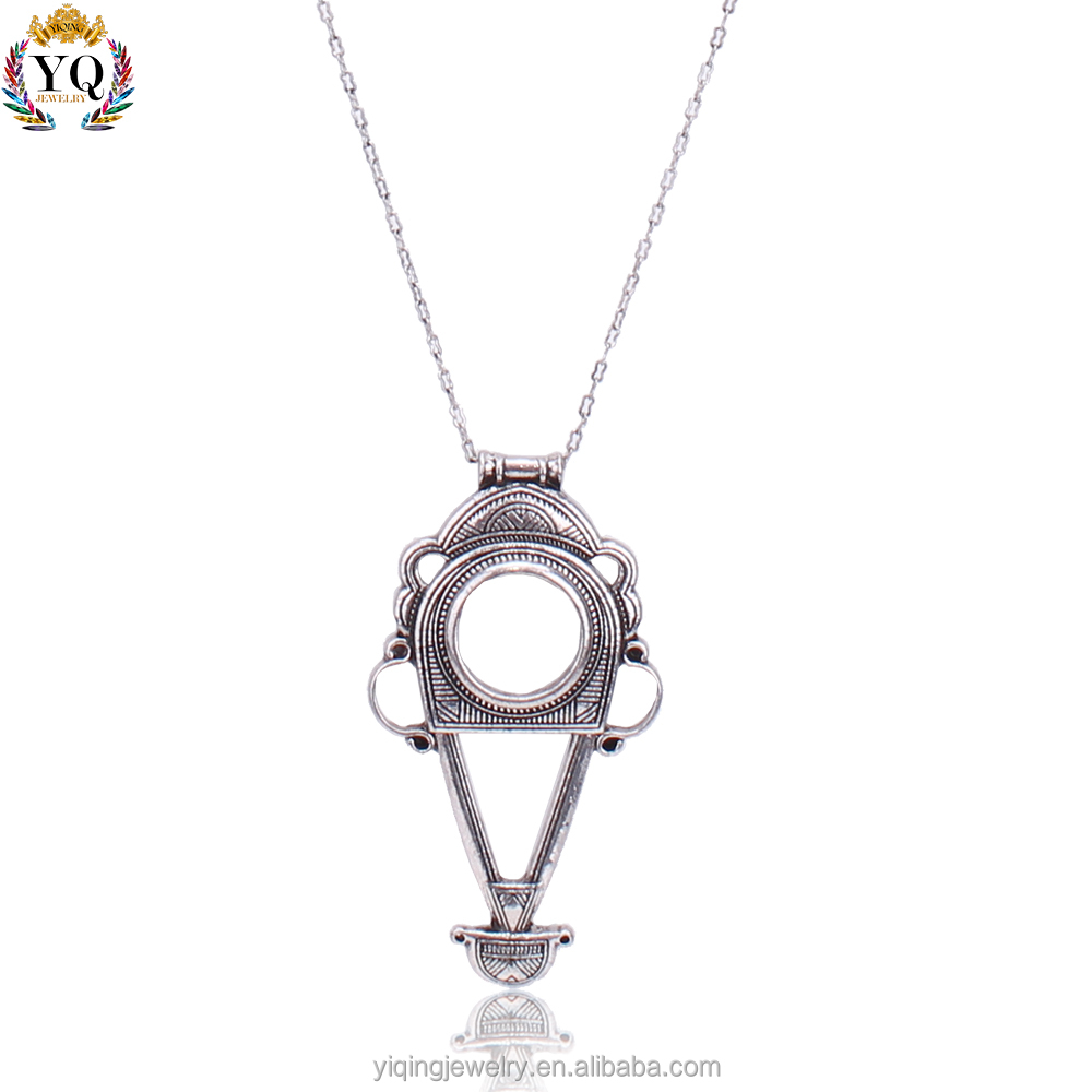 PYQ-00102 latest retro antique silver Indian tribe symbol shaped thin chain pendant necklace for men women gift party daily wear