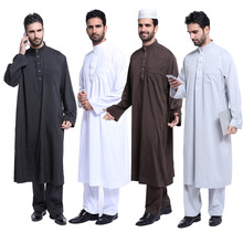 X62089A Long Sleeve Embroidery Pattern Arab Dubai Indian Middle East Islamic Man Thobe Kaftan