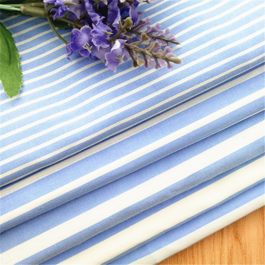 TC 65/35 blue white stripe printed poly/cotton chef kitchen uniform pants fabric