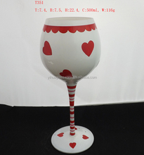 Superior Quality Wanderful Red Heart-shaped Design Stemware Glass