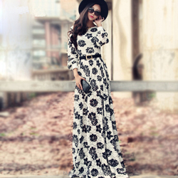 2015 godd quality ladis elegent long sleeve digital floral print lace dress maxi for women BY01