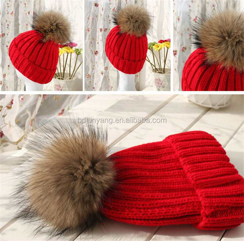 Economical women hat with big fur ball warm cap custom knit beanie pom