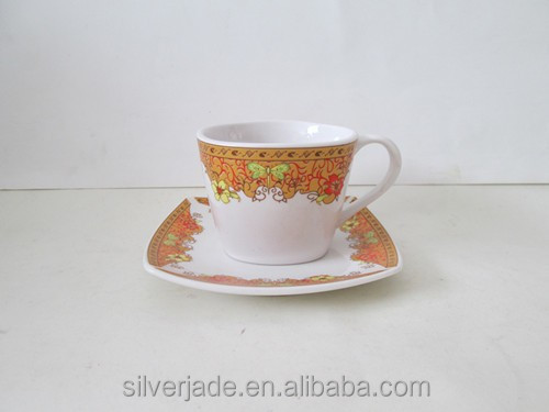 not real gold design square 180cc cup+saucer