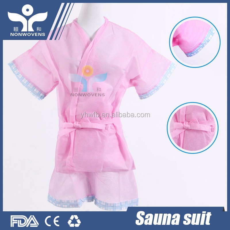China factory non woven Disposable sauna suit for spa beauty hotel salon dressing