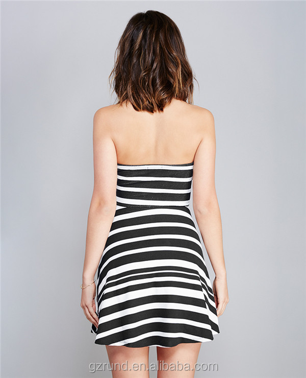 Wholesale high quanlity summer woman dress customize sexy dress black and white strip new mini dress