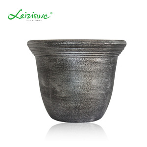 Leizisure Medley Round Copper Painted Plastic European Archaize Simple Vintage Flower Pot Planters