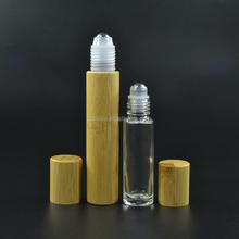 10ml 15ml glass roll on bottles with bamboo lid metal roller