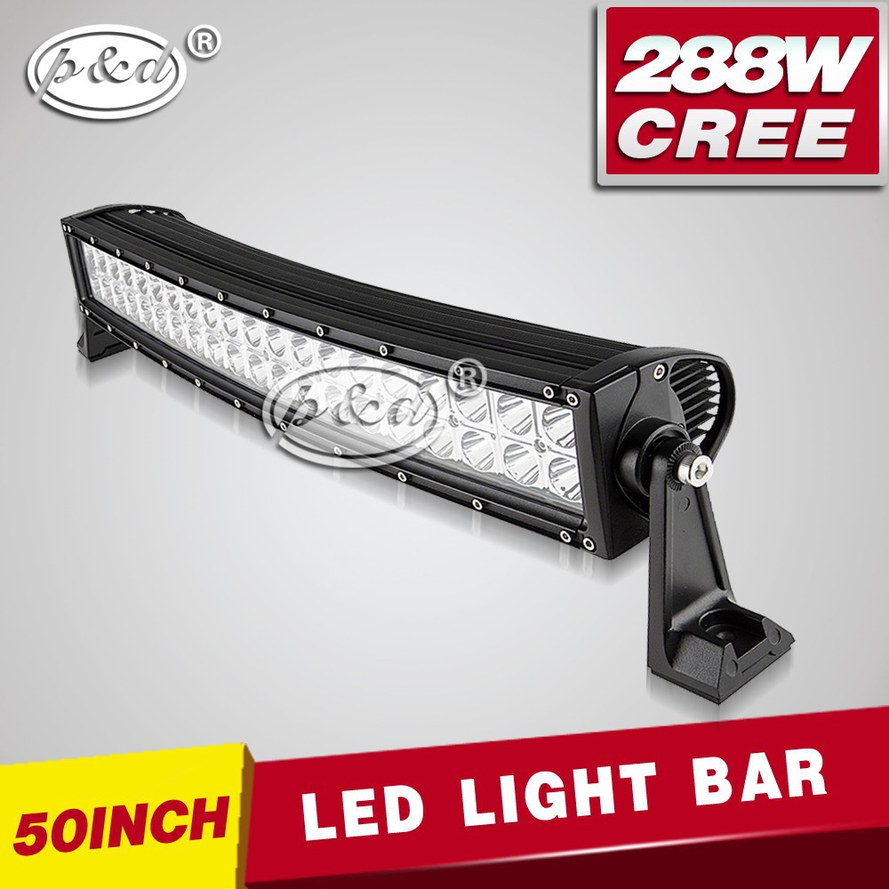 IP68 waterproof 288w 50inch pc lens double row led light bar