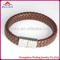 men's cool stylish leather braided magnetic metal clasp bracelet