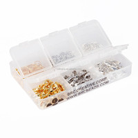 TOP Quality Mix Color Plated 60pcs 12mm Lobster Claw Clasps + 300pcs 6mm Open Jump Ring Value Pack Box Set for Jewelery Making