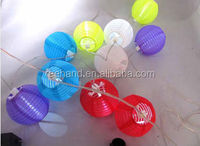 "ODM OEM accepted colorful waterproof nylon fabric 8"" diameter 3 bulbs solar paper lantern"
