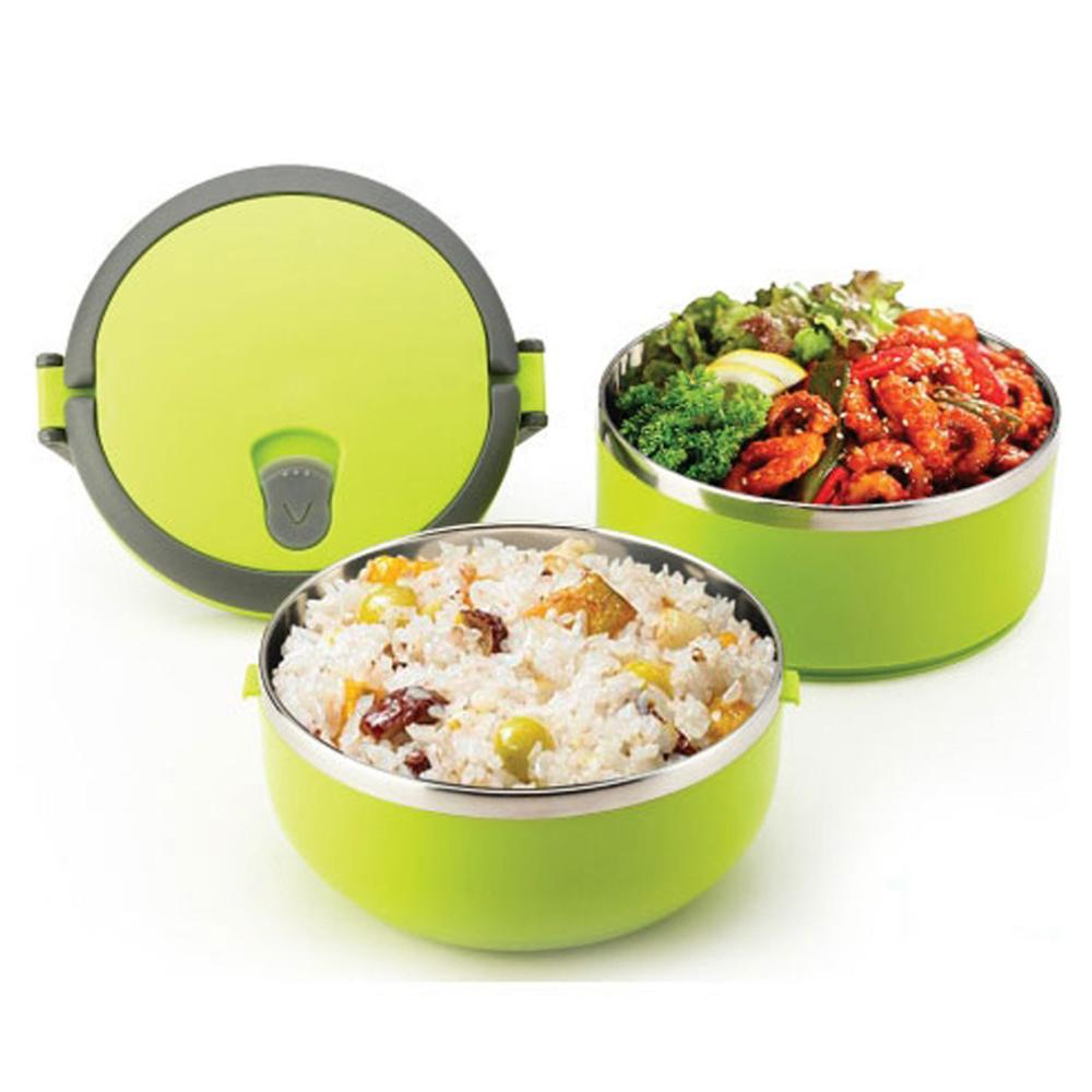 Stainless Steel Lunch Box 1.4L Double Lock Bento Freshness Food Storage Portable