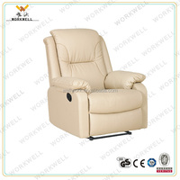 WorkWell modern style white genuine leather recliner single sofa Kw-Fu25