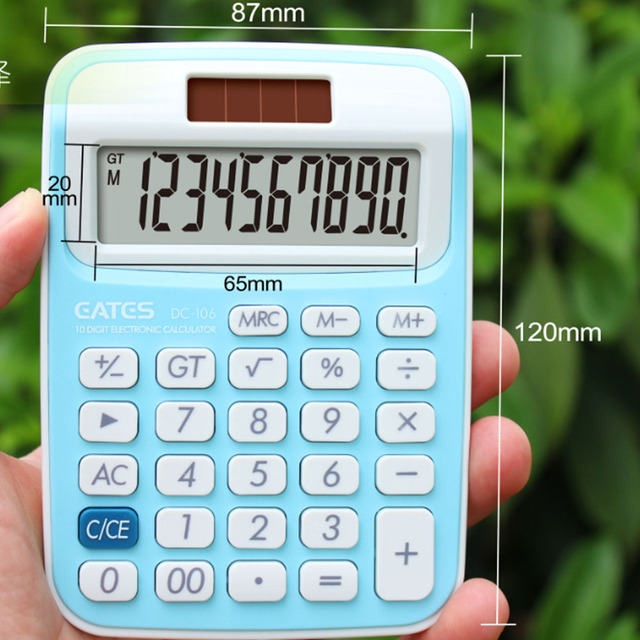 Korean School Supplier Promotion Gift 10 Digits Pocket Calculator Solar Power Cute Small Size Colorful Mini Calculator