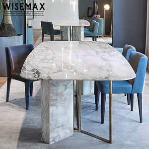 Customized table restaurant royal italian furniture 8 seater large rectangular marble top dining table