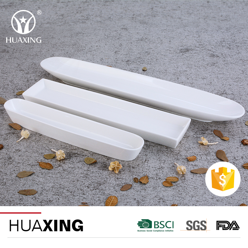 Wholesale long white porcelain snack bread oven ceramic dishes set for sale