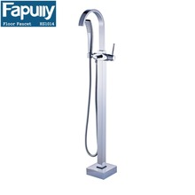Fapully Double handle Chrome Floor Freestanding Bathtub And Shower Faucets