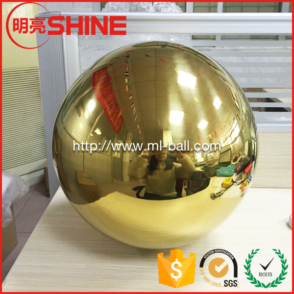 "201 stainless steel hollow decorative ball 11"" 18"" 24"" stainless steel mirror ball gold"