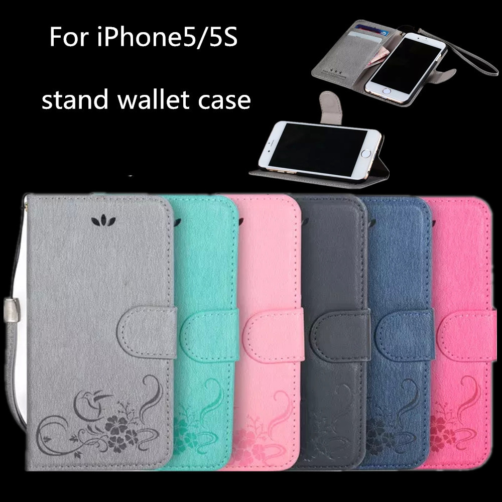 2015 wholesale hot selling leather wallet case for iphone 5, for iphone5 case with stand, flip leather case cover on alibaba