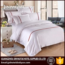 100% cotton flannel fabric hotel bedlinen bedding sets white jacquard embroidery bed linen 60x40s T300