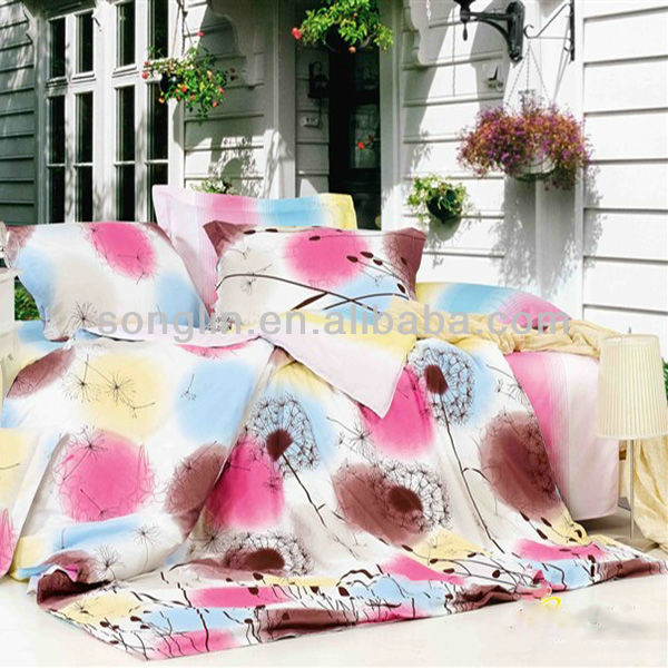 Pigment Print Dandelion Bedding Cotton Duvet Cover Bed Set
