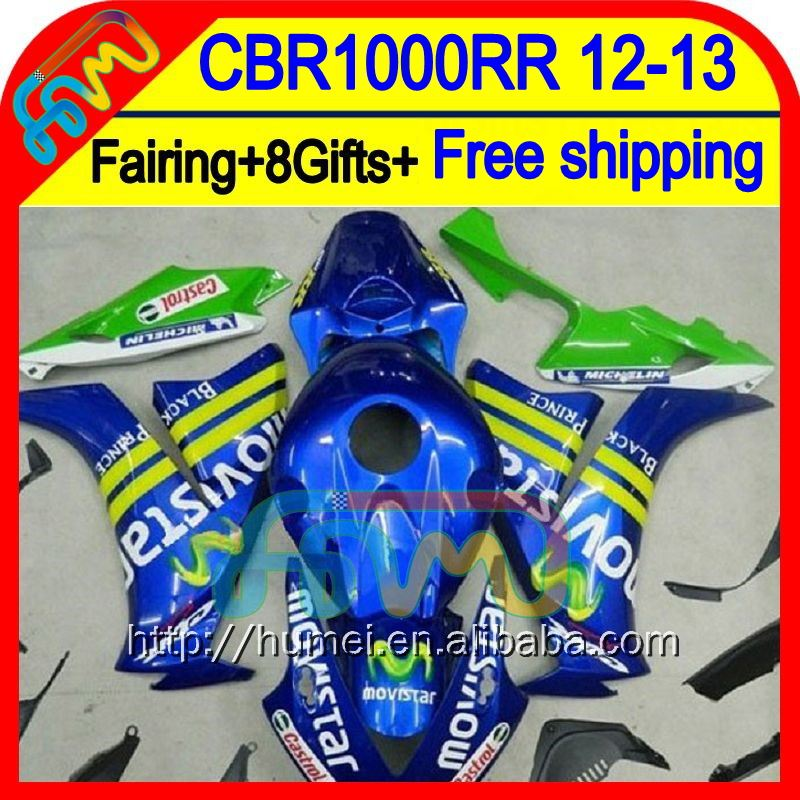 8Gifts+ Injection For HONDA CBR1000RR 12 13 Movistar Blue 76HM69 CBR 1000RR 1000 RR 12-13 CBR1000 RR 2012 2013 Fairing Blue new