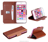 High Quality Smooth Touch Crazy Horse Pattern Wallet Card-Slot Pu Leather Cell Mobile Phone Case For Ipod Touch 6