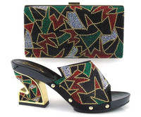Multicolor African shoes and bag fashion Matching with lots of stones shoe and bag set for party dress ZS11