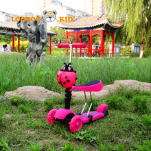 China factory hot sale age 2 years old china children pink flicker scooter for kids new model 3 in 1