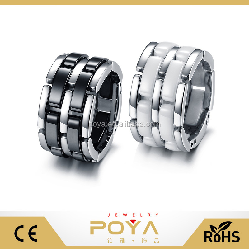 POYA Jewelry Fashion Stainless Steel Bands Foldable Chain Ceramic Rings