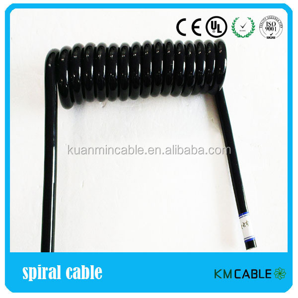 Direct selling automatic spring cable coiled electrical cord 3 wires
