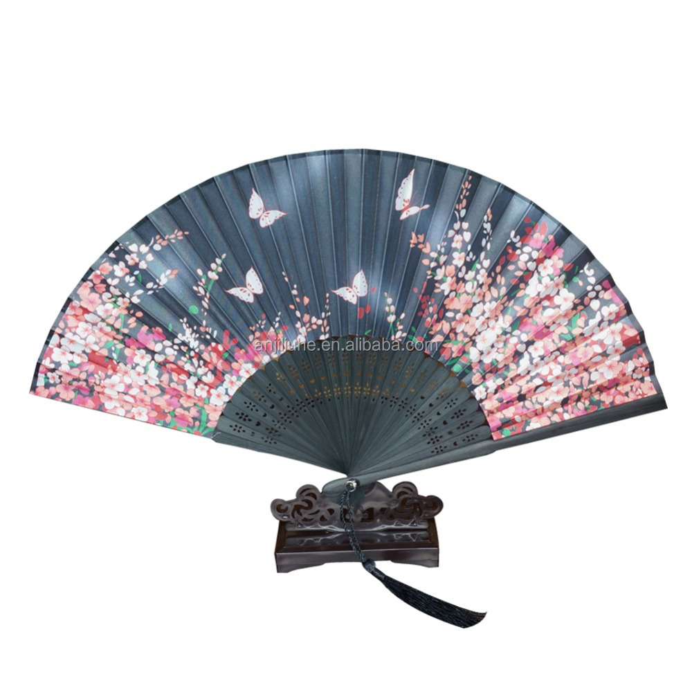 Colorful promotional foldable fan, bamboo folding fan hat, customed hand fan