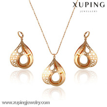 63451 xuping water shaped rose gold jewelry, dubai costume jewelry set