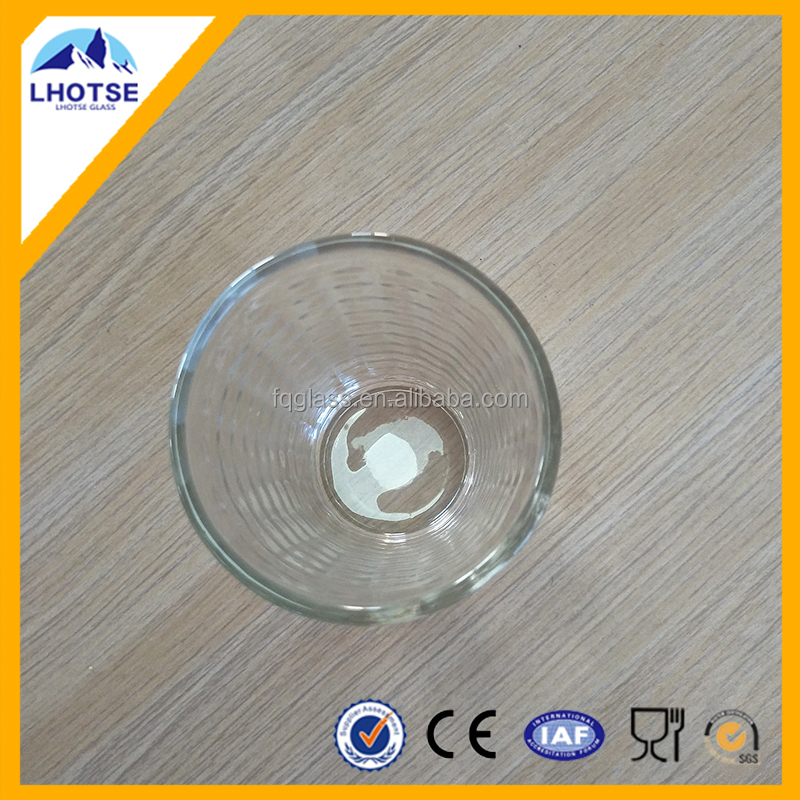 Common glass tumbler blocks embossed cheap water cup Nanjing port