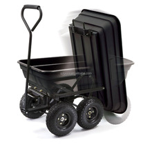 Poly Garden Dump Cart with Steel Frame and 10-Inch Pneumatic Tires