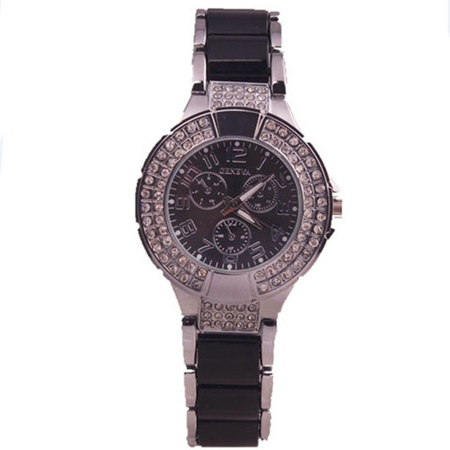 New arrival fashion designer women's crystal watches geneva hot sales quartz movement watches lady fashion lady reloj