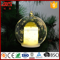 Snowflake glass ball led candle with warm white light