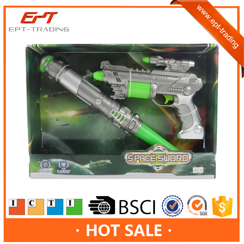 Kids plastic electric toy with light and music space sword gun toy set