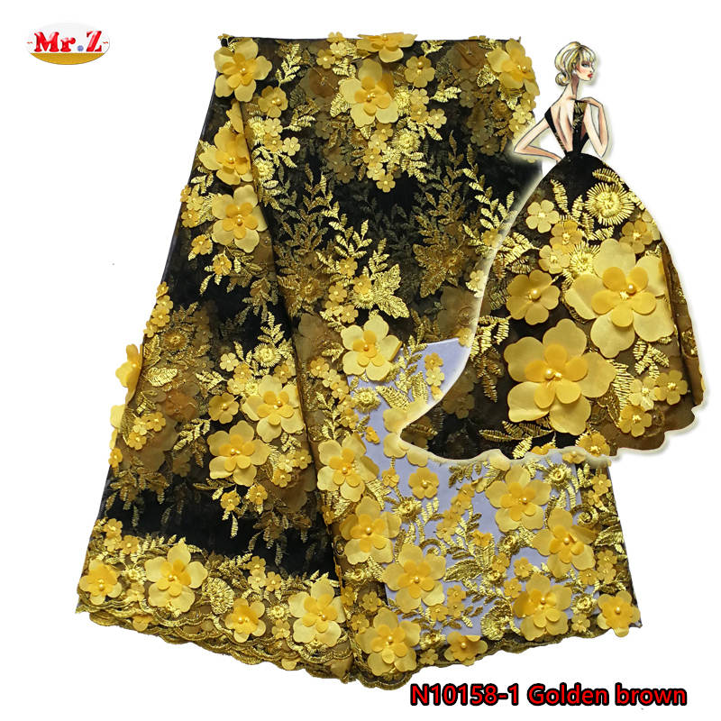 Mr.Z Yellow Applique Flower African Fabrics French Lace With Beads