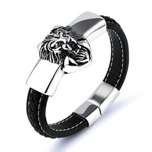 Marlary Stainless Steel Leather Gold Plated Lion Head Bangle Bracelet With Magnetic Clasp