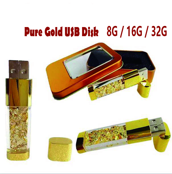 Stylish Business gift Gold foil inside USB disk 8GB 16GB 32GB USB 2.0 Flash Drive Frustration-Free Metal Box Packaging