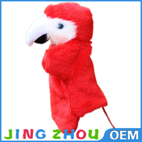 Hot desigh cheap Tip mouth and red hair bird hand puppets plush parrot hand puppet