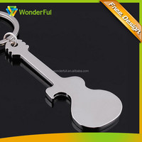 Wholesale Keychian Factory OEM Promotion High Polished Glossy Chrome Plated Guitar Shape Blank Engraved Keychain